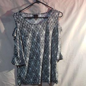 Worthington black and white blouse